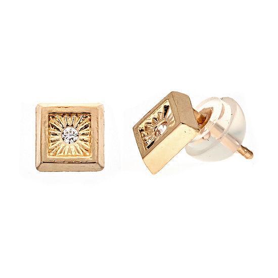 Diamond Accent White Cubic Zirconia 14K Gold 5.2mm Stud Earrings