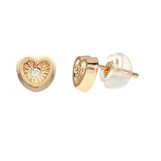 Diamond Accent White Cubic Zirconia 14K Gold 5.5mm Heart Stud Earrings