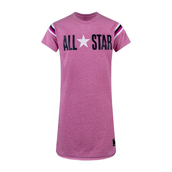 Converse Short Fitted Sleeve Logo T-Shirt Dresses Big Kid Girls