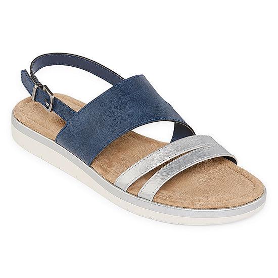 St. John's Bay Womens Alexandra Slingback Strap Flat Sandals