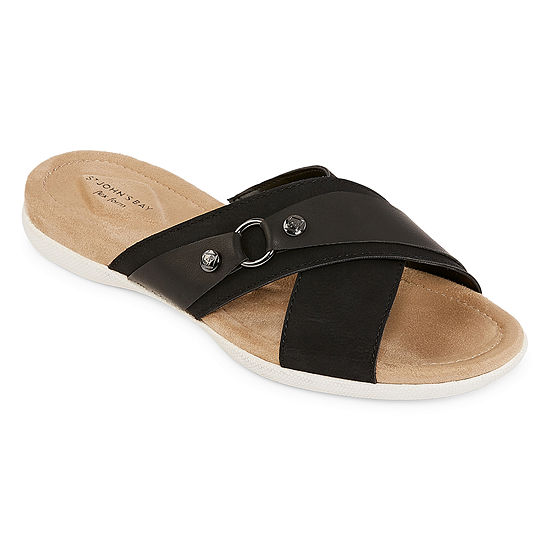 St. John's Bay Womens Tahoe Criss Cross Strap Flat Sandals