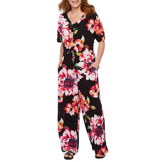 Weslee Rose Short Sleeve Floral Jumpsuit