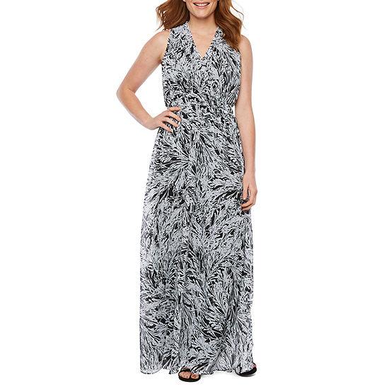 London Style Sleeveless Abstract Maxi Dress