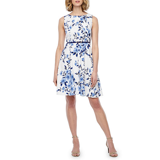 Alyx Sleeveless Floral Belted Fit Amp Flare Dress Color