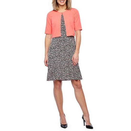Perceptions Short Sleeve Dot Print Jacket Dress