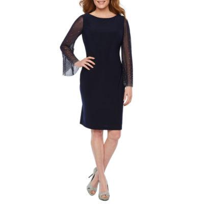 Jackie Jon Long Sleeve Embellished Shift Dress