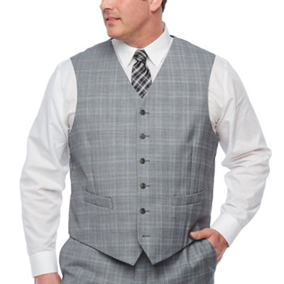 Stafford Plaid Classic Fit Stretch Suit Vest - Big and Tall