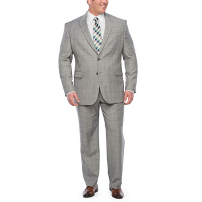 Stafford Super Suit Warm Gray Windowpane Big and Tall Suit Separates