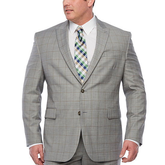 Stafford Windowpane Classic Fit Stretch Suit Jacket Big And Tall