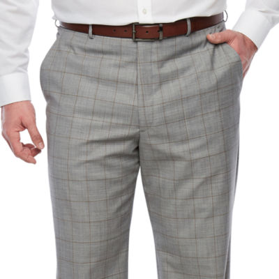 Stafford Windowpane Classic Fit Stretch Suit Pants - Big and Tall