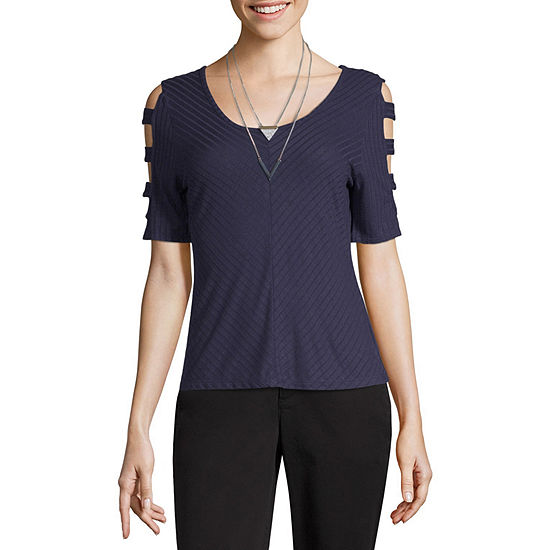 Byby Womens Scoop Neck Short Sleeve Knit Blouse Juniors
