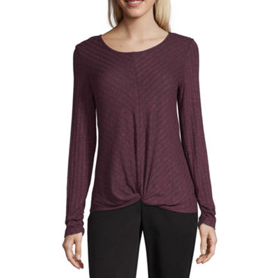 by&by Womens Scoop Neck Long Sleeve Knit Blouse-Juniors