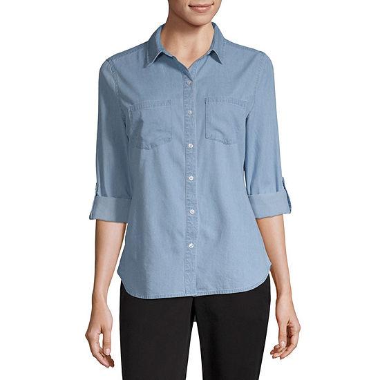 a.n.a-Petite Womens Long Sleeve Regular Fit Button-Front Shirt