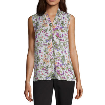 Liz Claiborne Womens V Neck Sleeveless Blouse