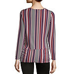 Como Blu Twist Front Womens Round Neck Long Sleeve Knit Blouse