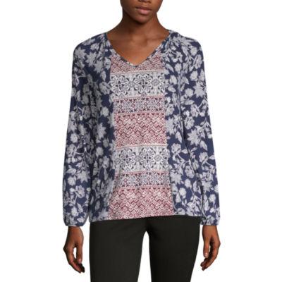 Como Blu Twin Print Womens V Neck Long Sleeve Peasant Top