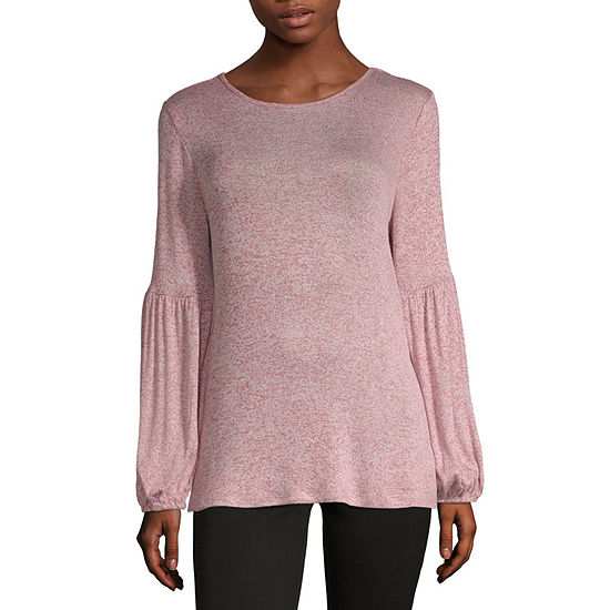 Liz Claiborne Womens Round Neck Long Sleeve Knit Blouse