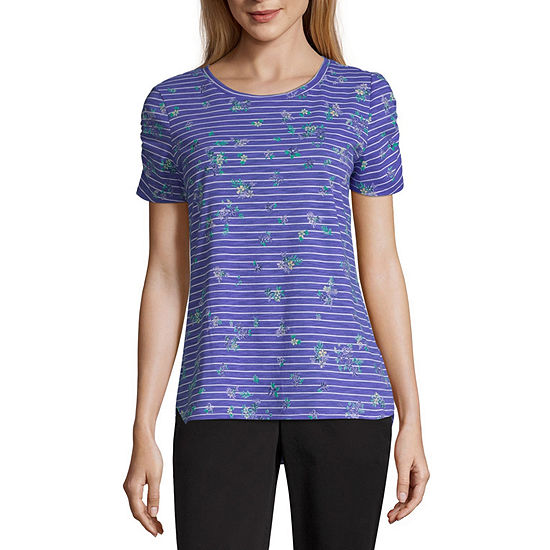 Liz Claiborne-Womens Crew Neck Short Sleeve T-Shirt