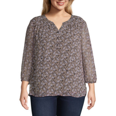 St. John's Bay Y Neck Popover Blouse - Plus