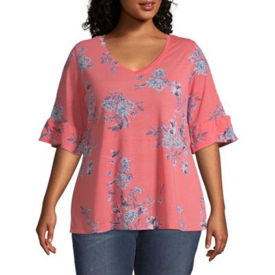 a.n.a Short Sleeve Ruffle Knit T-Shirt - Plus