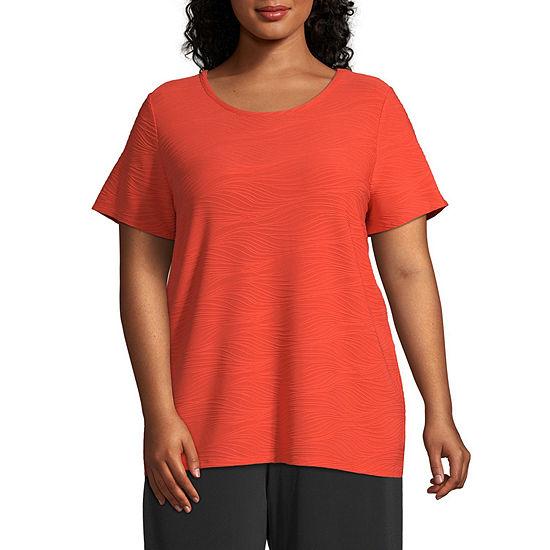 East 5th Womens Crew Neck Short Sleeve Blouse - Plus