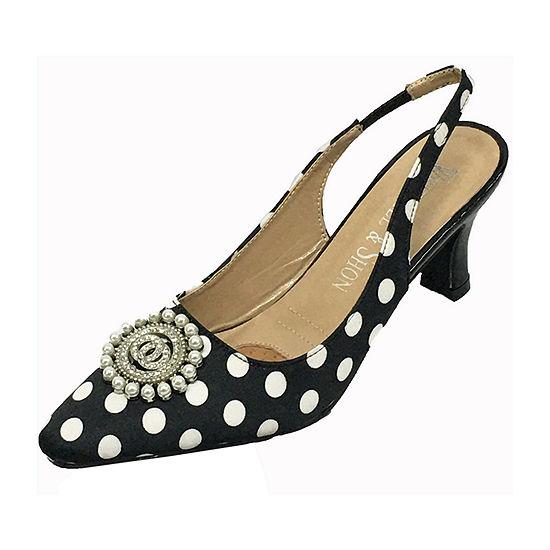 Whittall & Shon Womens Polka Dot Slingback Pumps Closed Toe Cone Heel