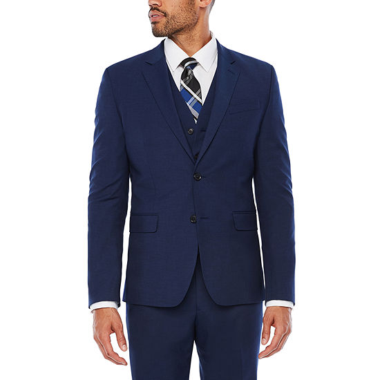 JF J. Ferrar Dark Blue Texture Suit Separates-Slim