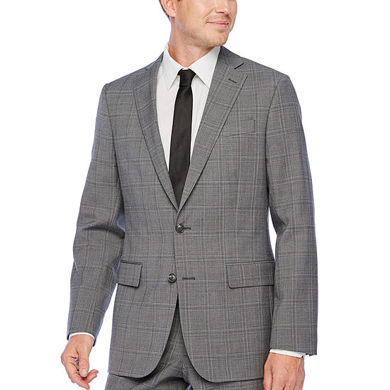 Stafford Super Suit Gray Plaid Classic Fit Suit Separates