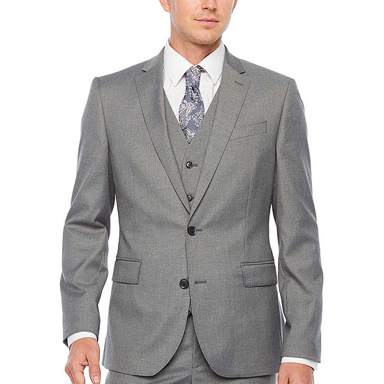 JF J. Ferrar Ultra Comfort Medium Gray Slim Fit Suit Separates