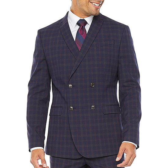 JF J. Ferrar Navy Burgundy Plaid Super Slim Fit Suit Separates