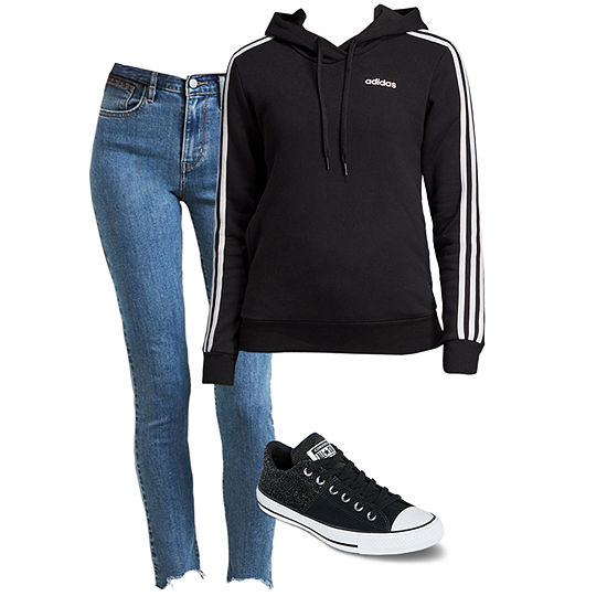 Lee Anne's Faves: adidas Hoodie, High-Rise Skinny Jeans, & Converse Sneakers