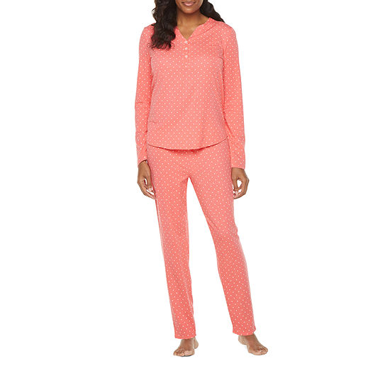 Liz Claiborne Womens 2-pc. Long Sleeve Pant Pajama Set