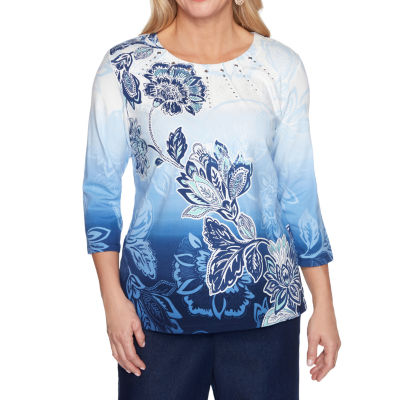 Alfred Dunner Classics Womens Round Neck 3/4 Sleeve T-Shirt