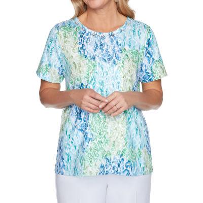 Alfred Dunner Classics Womens Round Neck Short Sleeve T-Shirt