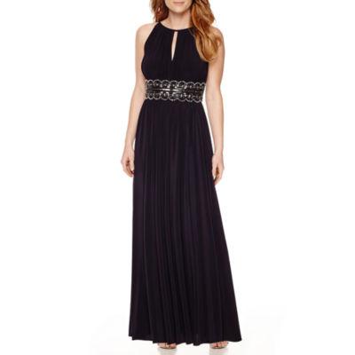 R&M Richards Sleeveless Beaded Halter Dress