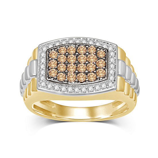 Mens 1 CT. T.W. White and Color-Enhanced Champagne Diamond Two-Tone 10K Yellow Gold Ring