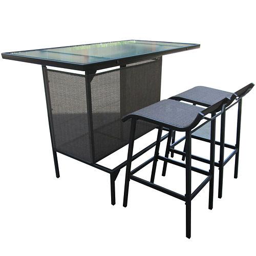 Oasis Glass-Top Bar and Sling Stool Set