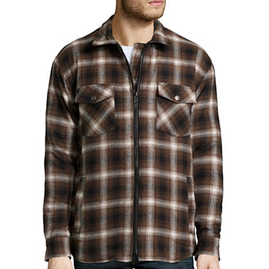 Work King Zip-Front Quilt-Lined Flannel Shirt - JCPenney : quilted flannel jackets - Adamdwight.com