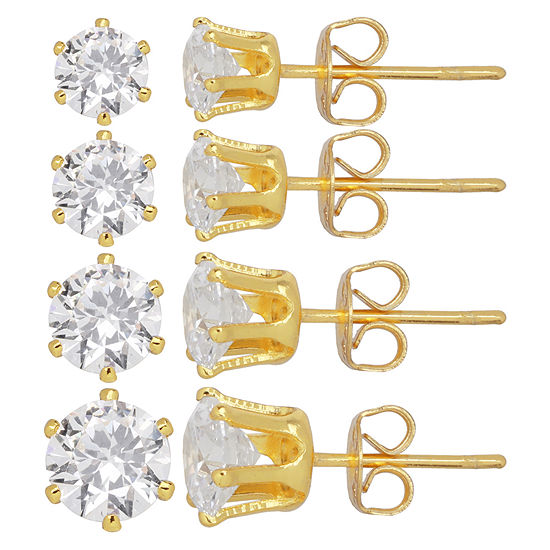 Silver Reflections™ Cubic Zirconia 4-pr. Stud Earrings