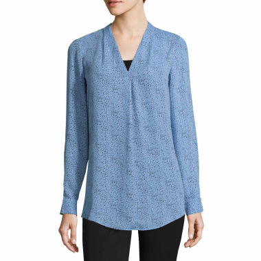 Worthington Long Sleeve V Neck Woven Blouse-Talls