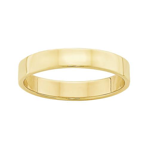 Womens 10K Yellow Gold Lightweight Flat Wedding Band