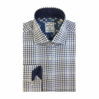 Society Of Threads Long Sleeve Woven Grid Dress Shirt