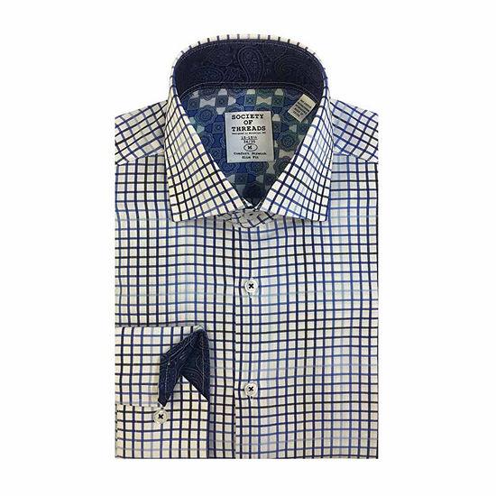 Society Of Threads Mens Long Sleeve Stretch Dress Shirt