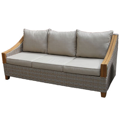 Outdoor Interiors Wicker and Natural Teak Sofa with Sunbrella Pillows and Cushions