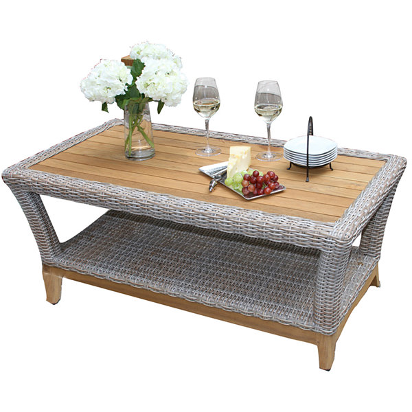 Outdoor Interiors Wicker and Natural Teak Coffee Table