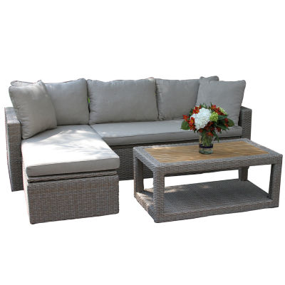 Outdoor Interiors 3pc Natural Teak Corner Sofa Setwith Chaise and Coffee Table