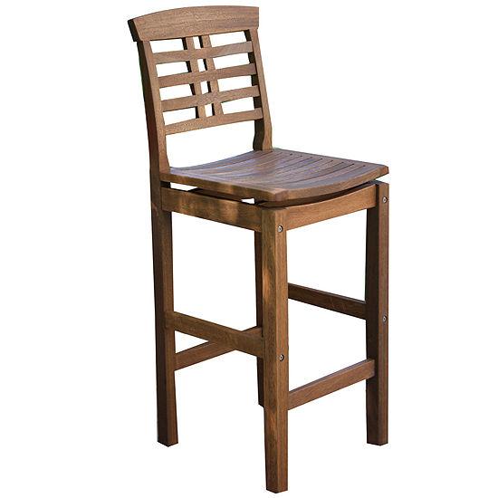 Outdoor Interiors Bar Chair with Backrest in Brazilian Eucalyptus