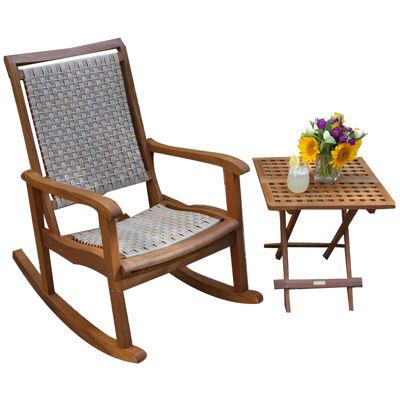 Outdoor Interiors Resin Wicker and Eucalyptus Rocker Chair