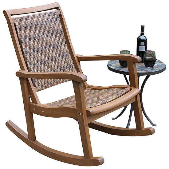 Outdoor Interiors Resin Wicker and Eucalyptus Rocker Chair