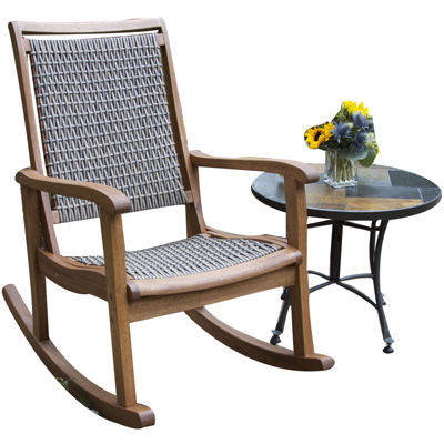 Ordinaire Outdoor Interiors Resin Wicker And Eucalyptus Rocking Chair